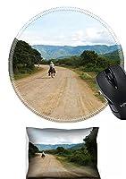 MSDマウス手首残りとラウンドマウスパッドセット、2ピース手首サポート設計: 2368863A Cowboy Rides a Donkey Down the Streetの中央アメリカ