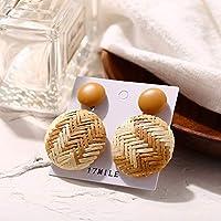 LIFE幾何学的な木製わら織り女性ビーチボヘミアンサークル休日ブラブラ夏のドロップイヤリング平方籐ジュエリーイヤリング イヤリング レディース