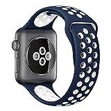 Apple Watch スポーツバンド, Gersymi® スポーツバンド 交換バンド 対応 アップルウォッチ Nike+ / New Apple iWatch Series 2 / Apple Watch Series 1 (42mm, ブルー+ホワイト)