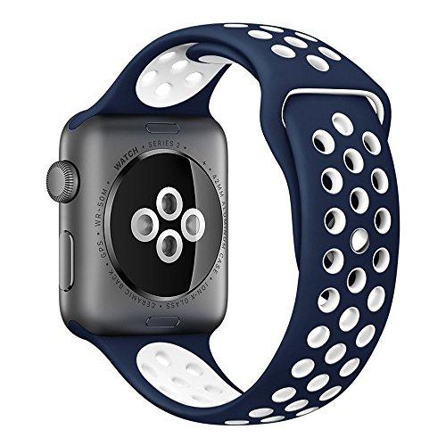 Apple Watch スポーツバンド, Gersymi® スポーツバンド 交換バンド 対応 アップルウォッチ Nike+ / New Apple iWatch Series 2 / Apple Watch Series 1 (38mm, ブルー+ホワイト)