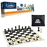 WE Games Tournament Chess Set- Heavy Weighted Chess Pieces with Black Roll-up Chess Board and Zipper Pouch for Chessmen [並行輸入品]