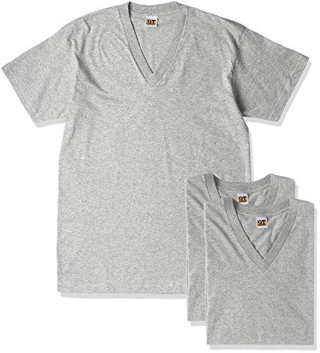 G.T.HAWKINS 紳士VネックTシャツ3枚組 グレーモク LL