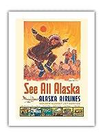 アラスカを見る - アラスカ航空 - コッツェーヴェエスキモーのダンス - ビンテージな航空会社のポスター によって作成された ジェス C. c.1960s - プレミアム290gsmジークレーアートプリント - 30.5cm x 41cm