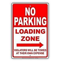 """No Parkingロードゾーン右矢印違反者は犠牲に独自Towed restriction Caution警告Noticeアルミニウムメタルサインプレート 8""""x12"""""""