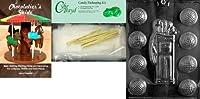 Cybrtraydキャディゴルフボールチョコレート金型with Chocolatierのバンドル、Includes 25チェロバッグ、25ゴールドツイスト紐とChocolatierのガイド