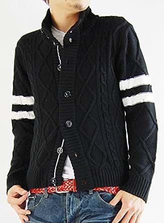 ARCADE(アーケード) 6color カーディガン メンズ カーディガン アームライン フィッシャーマン ニットジャケット XXL ブラック