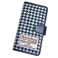 HIGHCAMP (ハイキャンプ) iPhone 8 ケース 手帳型 スマホケース ハリスツイード 千鳥 青 スライドタイプ マグネット Harris Tweed カバー