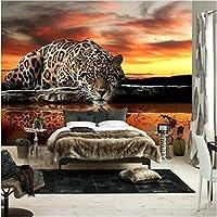 Ljjlm カスタム写真の壁紙ヒョウ壁画大壁掛けリビングルームPapel壁画パラパラ壁紙壁画壁紙動物-200X140CM