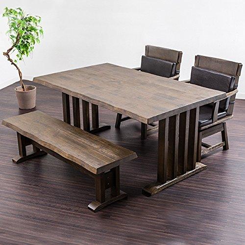 【木の質感を大切にした本格和風ダイニング4点セット】 余裕サイズの幅150テーブル 本格和テイスト食卓 浮造り加工&なぐり仕上げ 人気のベンチと回転椅子
