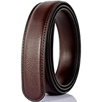 Uroruns Men's Real Leather 35mm Ratchet Big and Tall Belts Straps for Men Without Buckle Black/Brown
