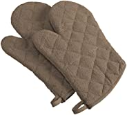 DII 100% Cotton, Terry Oven Mitts 7 x 13, Heat Resistant, Machine Washable for Everyday Kitchen Basic, Set of 2, Brown