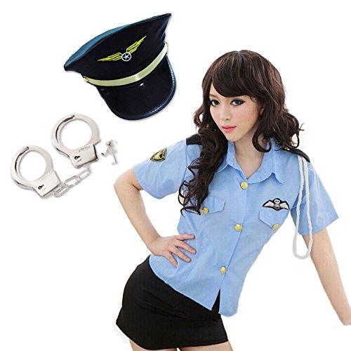 DiamondHearts コスプレ ポリス4点セット ※帽子・手錠・シャツ・スカート 婦人警官 (帽子ブラック)