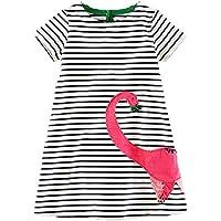 lymanchi Toddler Girl Short Sleeve Striped Cartoon Applique Casual T-Shirt Dress