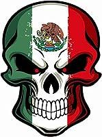 """大きなスカルメキシコ国旗ステッカーデカール車(トラック、バックウィンドウ、バンパーステッカー、ノートパソコンとMore ) 9"""" x 12 tech 5645767865"""