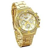 JewelryWe 上品 高級感 レディース/メンズ ウオッチ 腕時計 ダイヤを嵌め ステンレスバンド クオーツ ビジネス 日常 アナログ 時計 金色