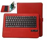 Qua tab px/LG G Pad III 8.0 ケース,【IVSO】Qua tab px/LG G Pad 3 8.0 ケース,オリジナルQua tab px/LG G Pad 3 8.0 キーボード (7-8インチのタブレットも適用) 開閉で自動的 PUレザーケース マグネット着脱可能 一体型Bluetoothワイヤレスキーボード(レッド)