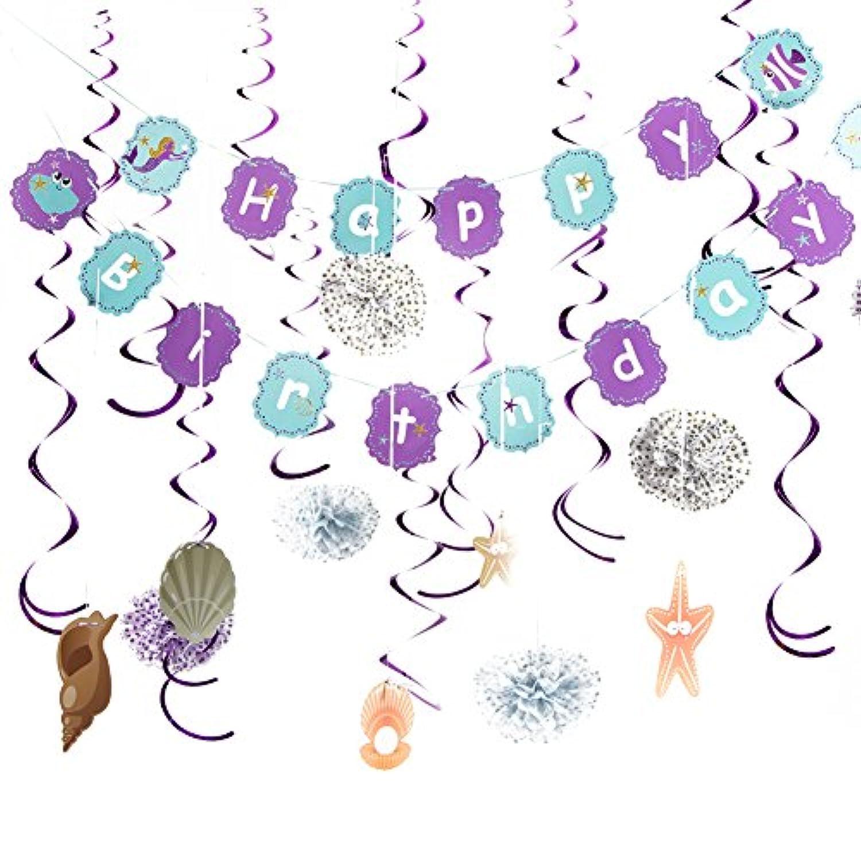 Easy Joy LittleマーメイドパーティーデコレーションHappy誕生日バナーパープルSwirl Decoration with貝ガーランドunder the sea BirthdayパーティーSupplies