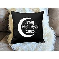 Stay Wild Moon Childブラックコットン枕| Moon Loverギフト| Moonギフト|ムーン枕| Full Moon | Moonのギフトです| Lunar | Luna 16 in