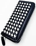 FIS-I(フィスーアイ) 編み込み レディース 長財布 ラウンドファスナー pu レザー 軽量 財布 小銭入れ 大容量 サイフ (05 ブラック&ホワイト)