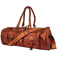TUZECH Genuine Pure Hard Bound Heavy Duty Exclusive Pure Leather Vintage Unique 2 Pocket Duffel Bag - 22 Inches