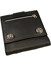 ノーブランド品 メンズ レザー 財布 ウォレット 3つ折り スクウェアタイプ(ブラック)
