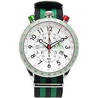 [アンペルマン]AMPELMANN 日本製 腕時計 メンズ クロノグラフ 回転式 24時間表示 ホワイト AKS-4974-03 メンズ