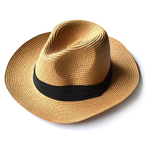 折りたたみ可能 レディース 春 夏 麦わら帽子 日焼け止め 太陽帽 砂浜 海辺 ストローハット調整ヒモ付き 美シルエット ベージュ