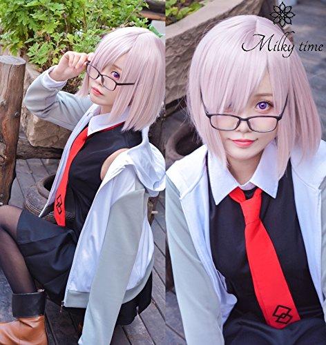 [milky time] ウィッグ付き★ Fate/Grand Order マシュ・キリエライト (マシュキリエライト) 風 コスプレ 衣装 (M)