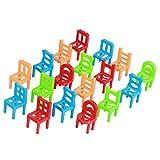 Lovoski 約18個セット 知育玩具 ミニ プラスチック 椅子 家具 子供 贈り物 アクセサリー マルチカラー 5センチメートル