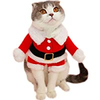 Bolbove Pet Christmas Santa Claus Suit Costume for Small Dogs Cats Jumpsuit Winter Coat Warm Clothes (Red, Large)