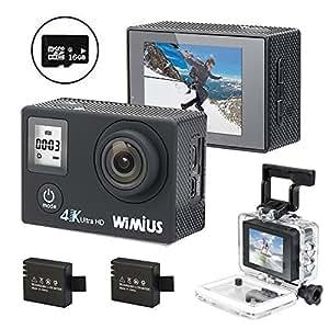 WIMIUS Wifi 4K(30FPS) ウェアラブルカメラ 2.0インチ液晶 (Q4 ブラック)
