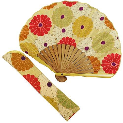 扇子 女性 扇子袋・ハンカチセット 大菊(黄) 箱入り おしゃれ ちりめん 女性用 レディース 扇子