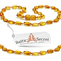 Amber Teething Necklace for Babies, Certified Amber Beads, 50% Higher in Value and Effectiveness, Extra Safe Teething Necklace with Teething Pain & Drooling Reduce Properties / HNY.P-BN31.5 by Baltic Secret