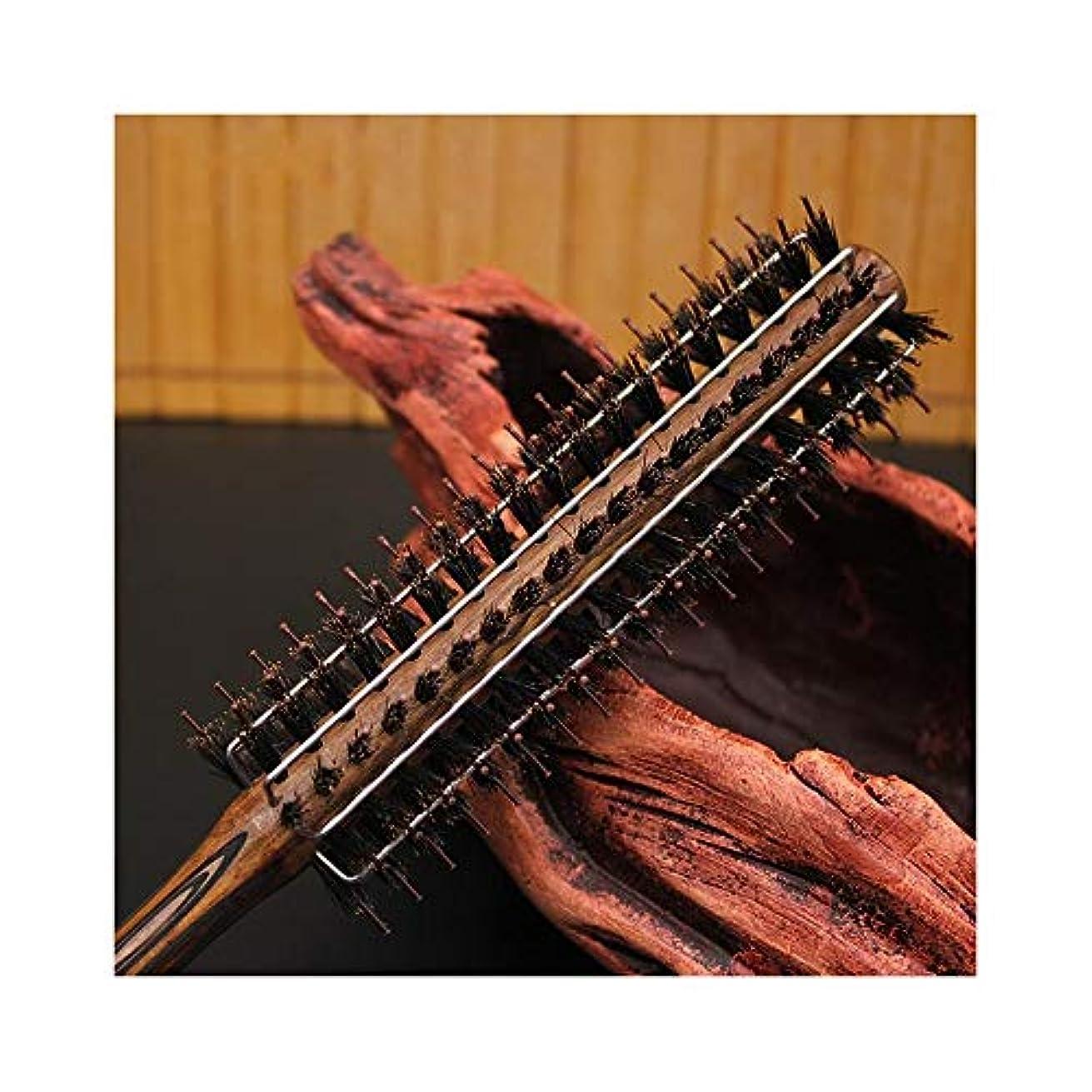 女性のための新しいカーリングヘアコームワイヤー豚毛ナイロンウッドローリングブラシ ヘアケア (サイズ : L)