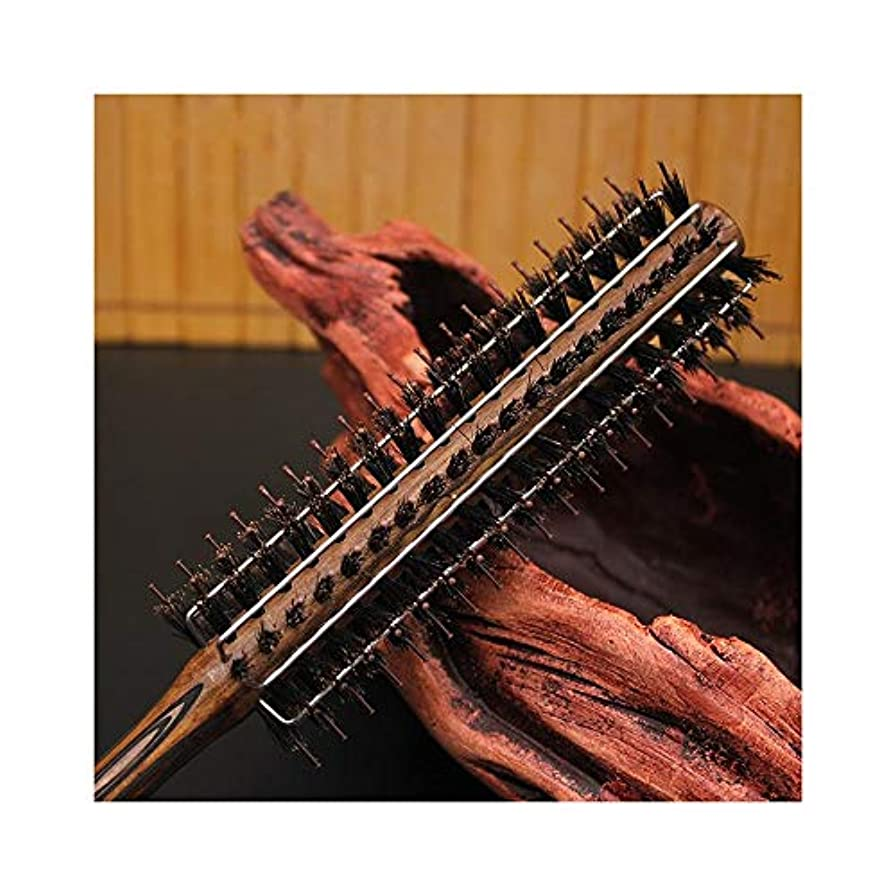 成功する割合月曜日女性のための新しいカーリングヘアコームワイヤー豚毛ナイロンウッドローリングブラシ ヘアケア (サイズ : L)
