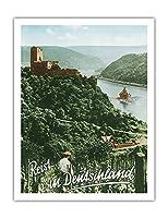 ドイツへの旅 - Fuerstenberg城跡 - ライン渓谷 - ビンテージな世界旅行のポスター によって作成された F.クラッツ c.1950s - アートポスター - 51cm x 66cm