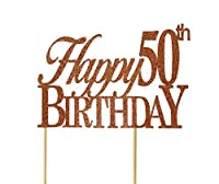 All About Details Copper Happy-50th-birthday Cake Topper [並行輸入品]