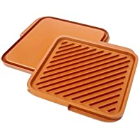 Gotham Steel Ceramic and Titanium Nonstick Double Grill, Brown by GOTHAM STEEL