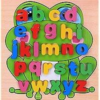 HuaQingPiJu-JP 子供のための木製の就学前の単語認知ボード教育パズル(カエル)