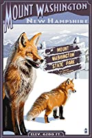 MT。ワシントン、New Hampshire–Foxシーン 24 x 36 Signed Art Print LANT-33545-710