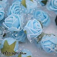ミニフォームフェイクフラワーDIY手作りの結婚式の装飾人工ローズ paioupaiou (Color : PE10 light blue, サイズ : 100pcs)