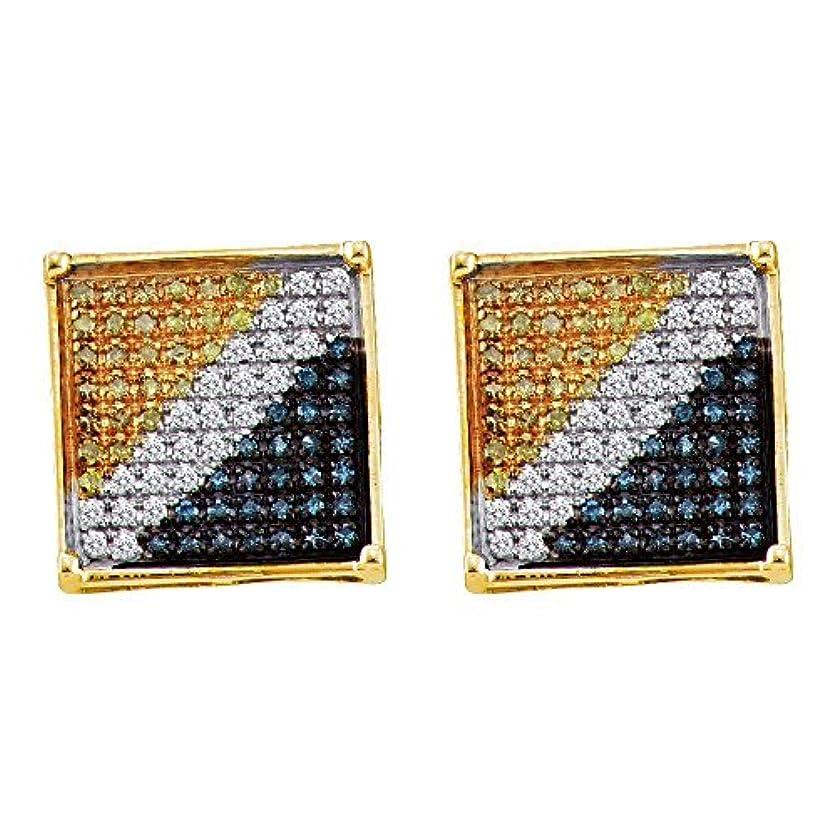 霧深い印刷する優れた10 KTイエローゴールドメンズラウンドブルーイエローカラーEnhancedダイヤモンド正方形クラスタイヤリング1 / 20 cttw