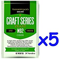 5 x MangroveジャックのYeast Cider m02 CraftシリーズYeast 9 g treats 23l by Mangroveジャック