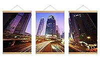 芸術品ズック製印刷吊り絵、内装用品壁のデコレーション吊り絵(夜の街、美しい灯り #P001)40x60/3