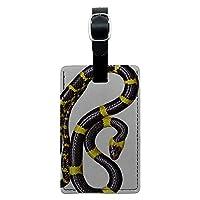 ブラック and 黄ヘビは虫類レクタングルレザー荷物IDタグ