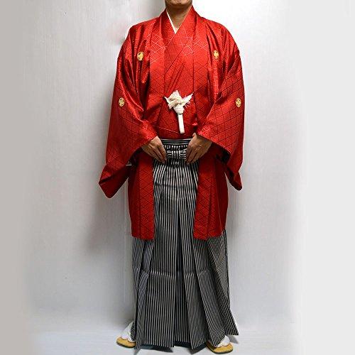 卒業式・成人式・結婚式 男性メンズ紋付羽織袴3点セット 5サイズ7色/6号 赤