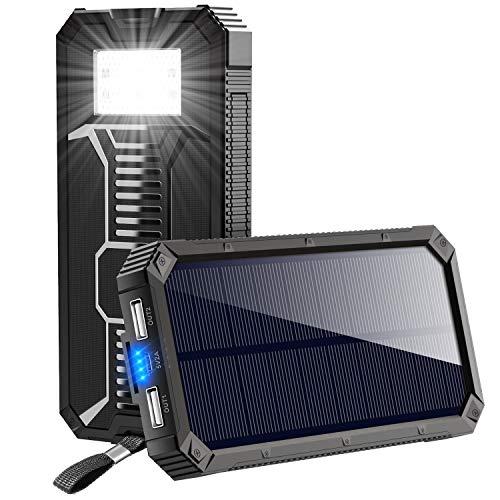 ソーラーチャージャー モバイルバッテリー 15000mAh 大容量 ソーラー充電器 2USB出力ポート LEDライト搭載 ソーラーパネル 電源充電可能 太陽光で充電でき 災害/旅行/アウトドアに大活躍 Android/iPhone /iPad/ゲーム (ブラック)