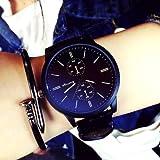 メンズ ファッション ZooooM クロノグラフ ラウンド デザイン アナログ 腕 時計 フェイク レザー ベルト ファッション アクセサリー フォーマル カジュアル ビジネス メンズ レディース 男性 女性 男 女 兼 用 (ブラック) ZM-WATCH2-831-BK