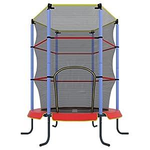 ウルトラスポーツ 子ども用トランポリン 3才以上 140cm 安全ネット付き 屋内用 楽しみながらトレーニングできる, レッド