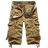 KRY ショート カーゴパンツ メンズ 7分丈 大きい サイズ 多機能 ポケットカジュアル 涼しい ハーフ ズボン (6色選択) (34, カーキ)